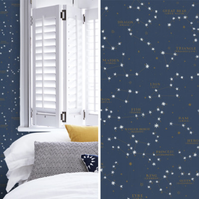 Ralph Lauren wallpaper in midnight blue for our Fall 2017 One Room Challenge Tween Girl's Bedroom Makeover!