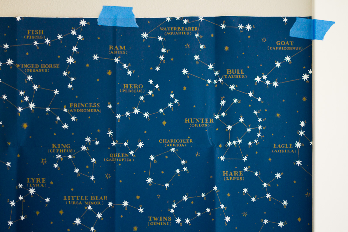 A beautiful sample of Ralph Lauren's gorgeous constellation wallpaper.