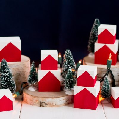 These cute and easy DIY Christmas blocks are inspired by the Norwegian houses tucked into the hillsides of fjord country.