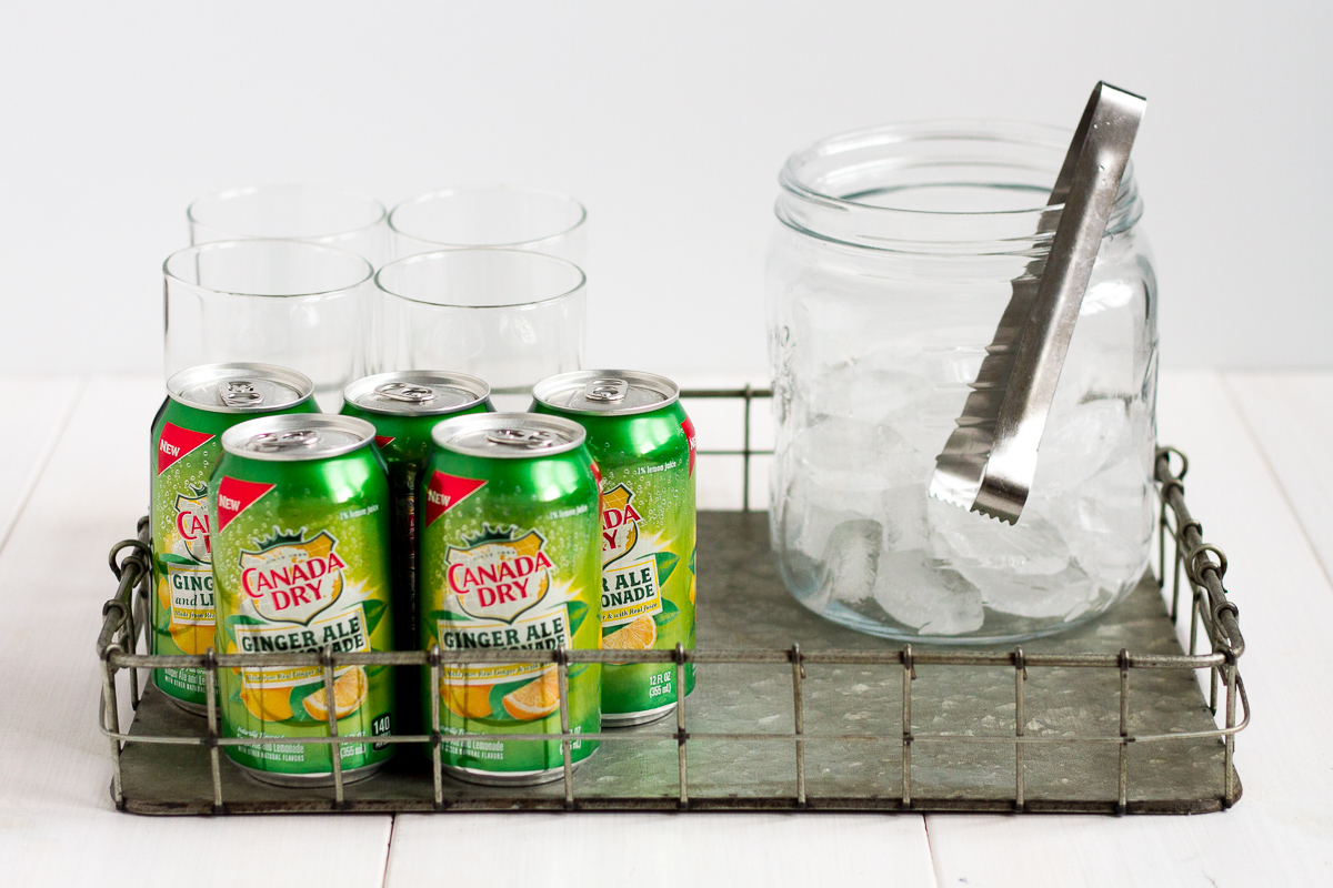 Don't have the room for a big bar cart? Put together a cute, easy, inexpensive DIY drink station for your next party!