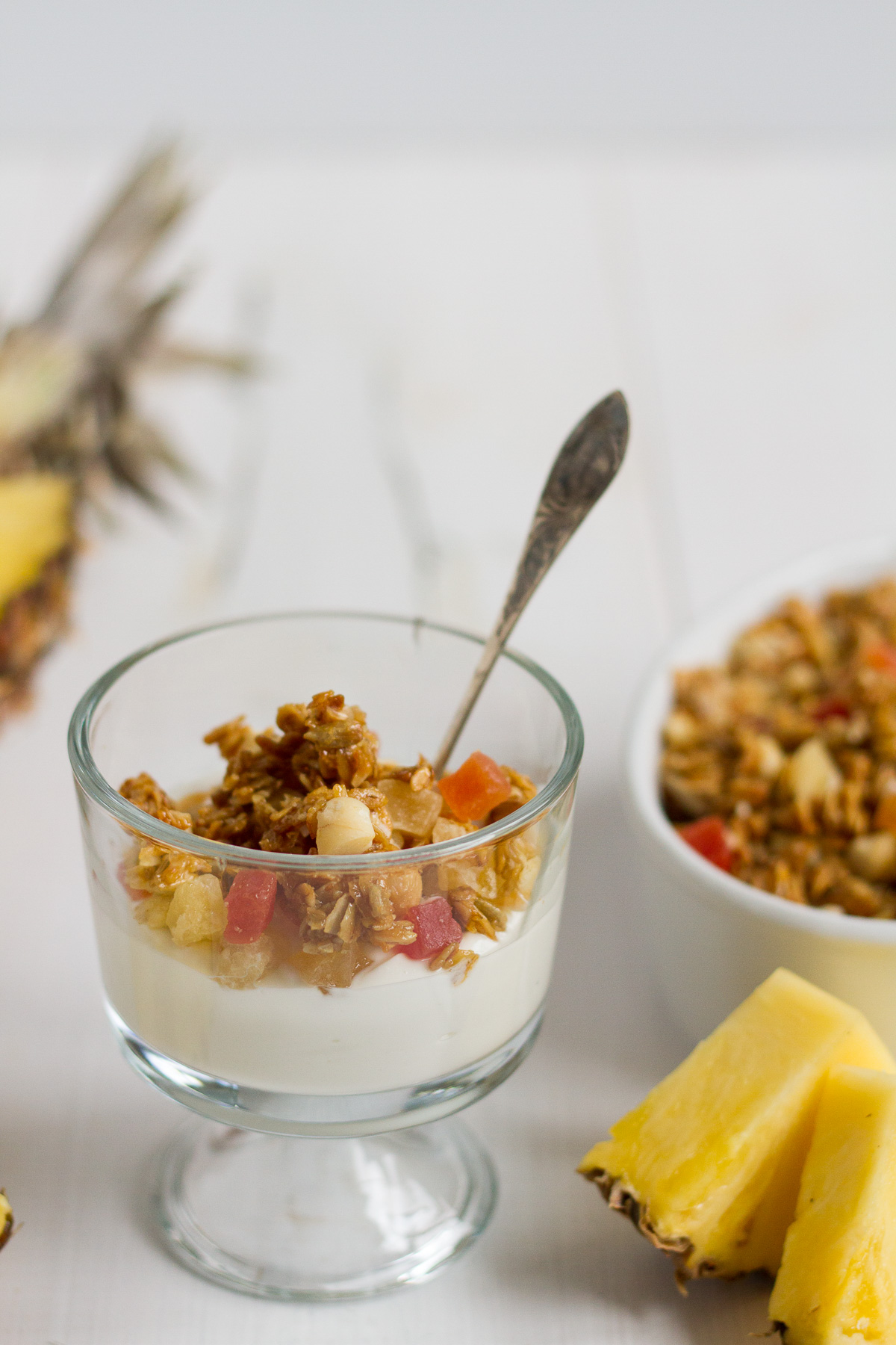 Crunchy homemade tropical granola with oats, sunflower seeds, macadamia nuts, coconut chips, dried tropical fruits likes pineapple, mango, and papaya, lightly sweetened with honey and brown sugar.