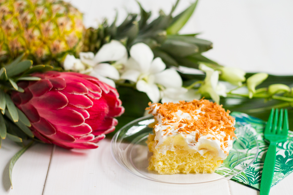 Hawaiian Party Cake, with flavors of pineapple and coconut, is the perfect easy dessert for your next get-together!