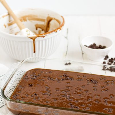 This super simple one-bowl double chocolate cake is easy and delicious!