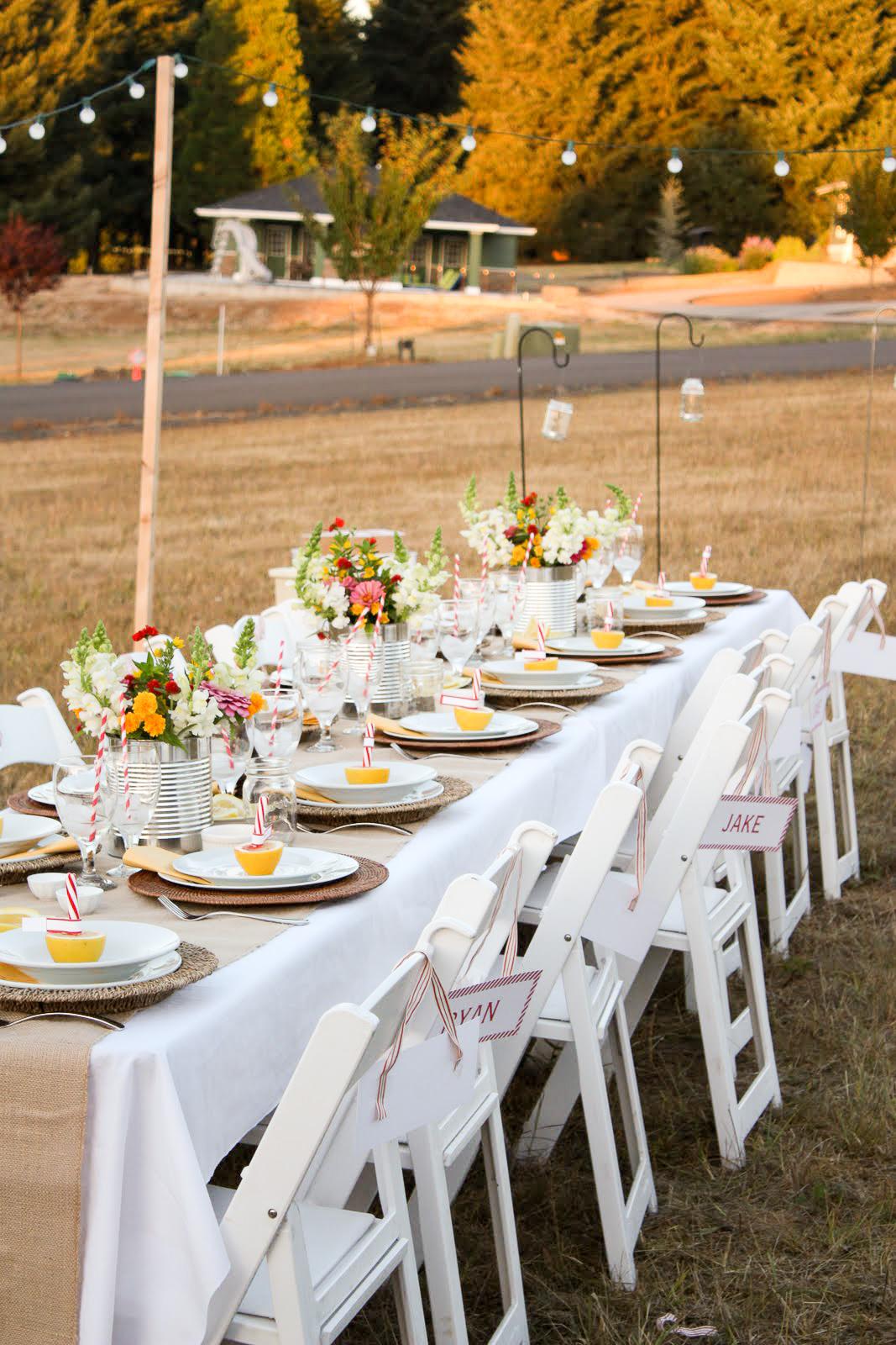 dinner in a field