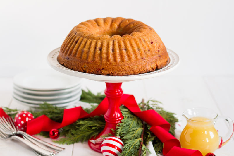 Fresh Cranberry Cake with Hot Butter Sauce