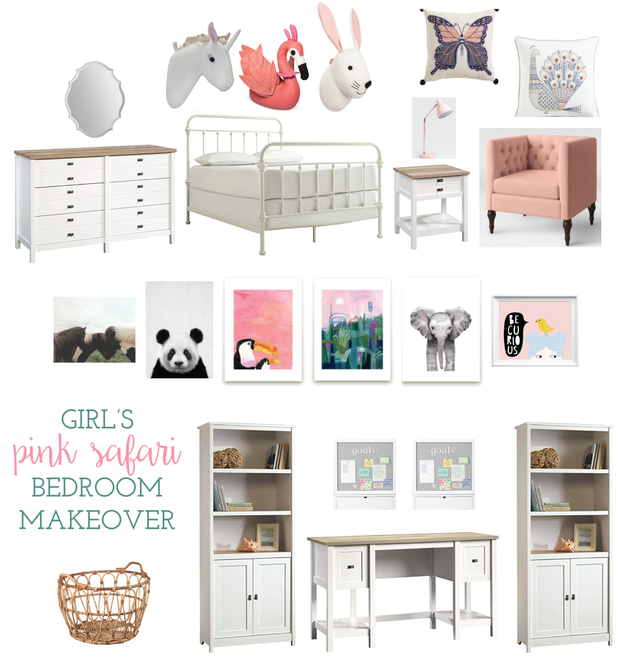 "It's week 2 of the Spring 2019 One Room Challenge. We're giving our tween daughter's bedroom a ""pink safari"" makeover."