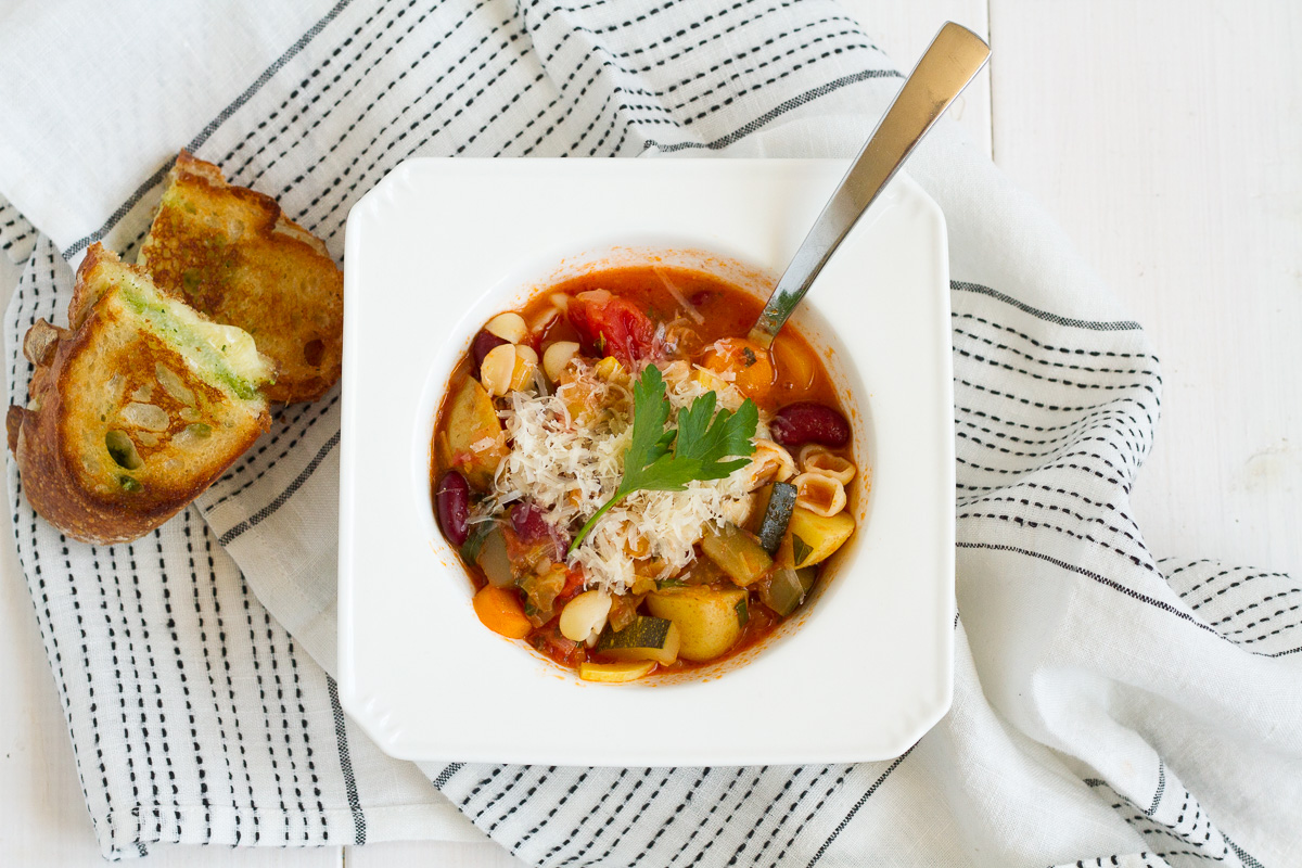 A classic minestrone recipe packed with fresh garden vegetables.