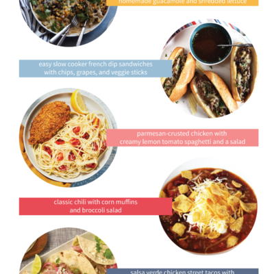 a list of 5 fast, family-friendly dinner menu ideas for busy weeknights