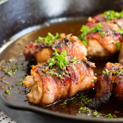 Bacon-Wrapped Chicken Thighs with Apple Cider Pan Sauce