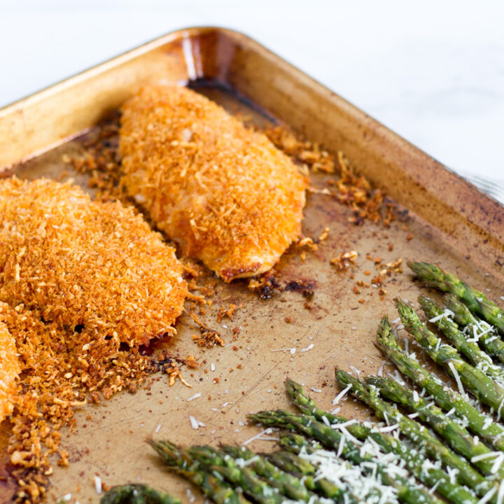 sheet pan crispy parmesan chicken with asparagus