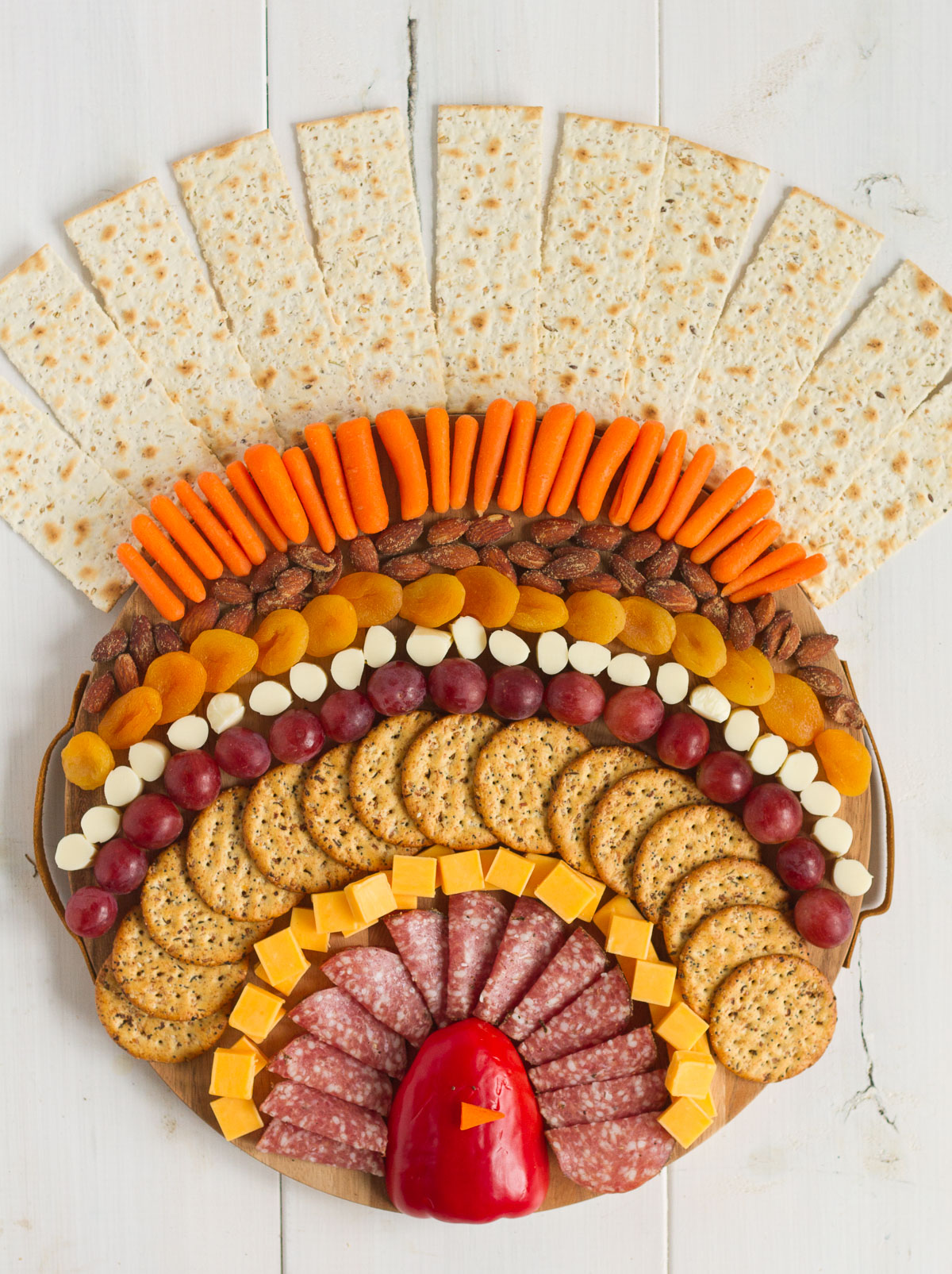 A Thanksgiving turkey charcuterie board with all your favorite snacks.