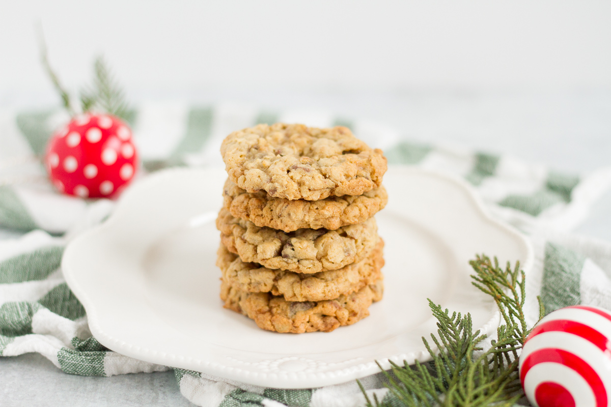 Buttery oatmeal cookies with chocolate chips and toffee bits!