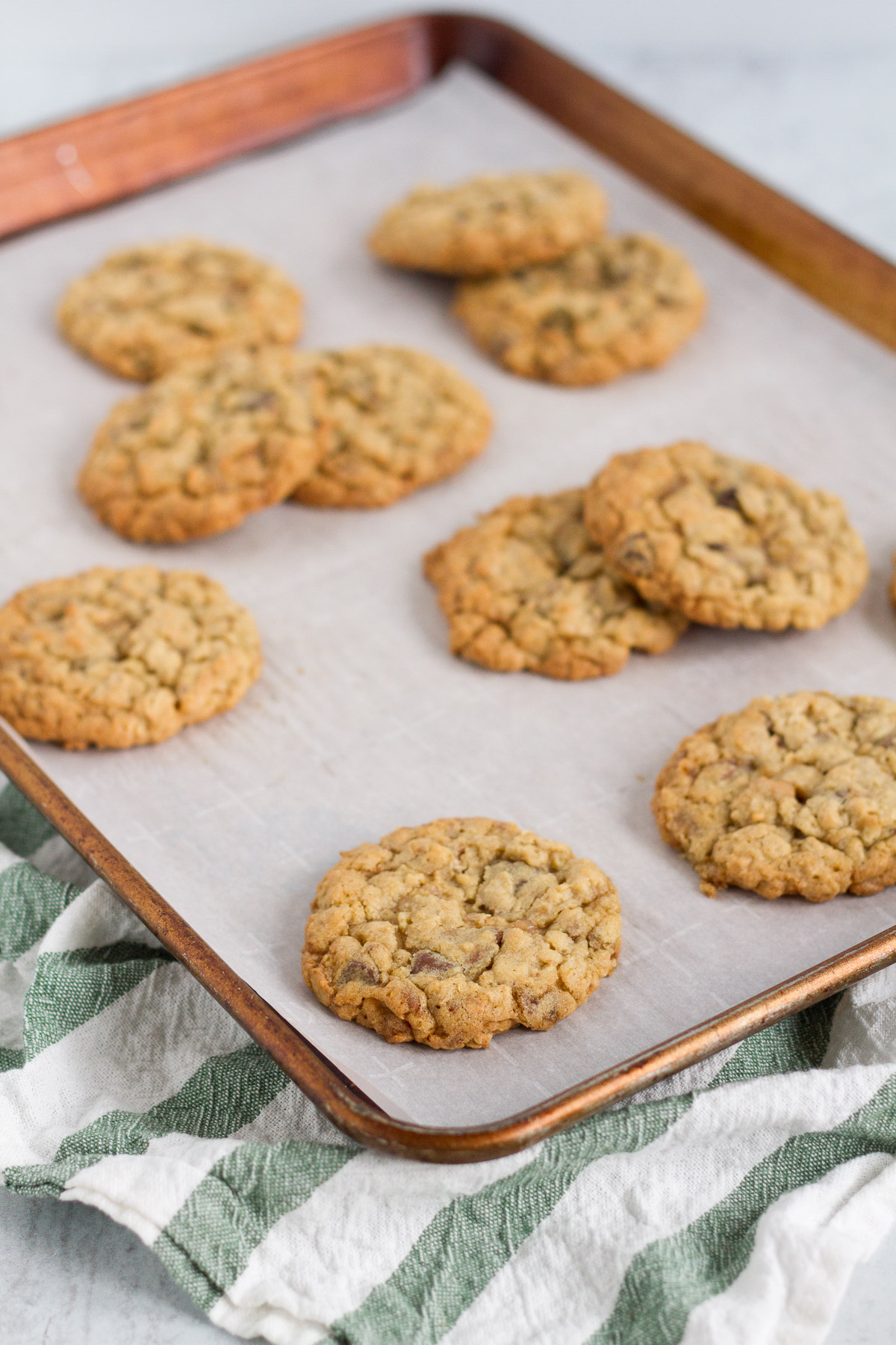oatmeal cookies loaded with chocolate and toffee bits