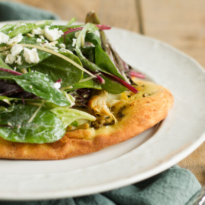 chicken caesar salad flatbread pizza