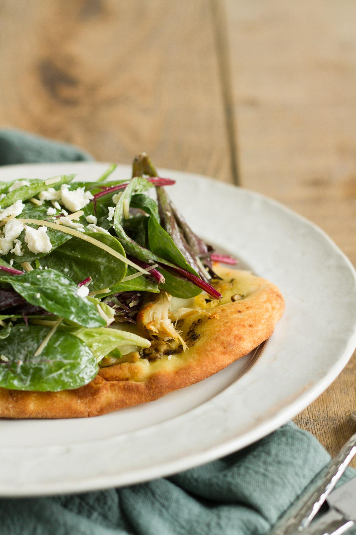 Chicken Caesar Salad Flatbread Pizza