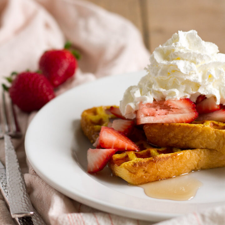 Waffle French Toast combines two breakfast favorites into one delicious treat.