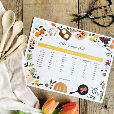 This darling printable kitchen conversion chart is the FREE pre-order gift available when your purchase a copy of Farmhouse Weekends before April 6th!