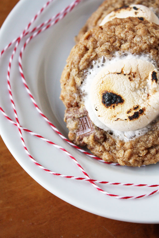 oatmeal milk chocolate chunk cookies with marshmallows on top smores cookies